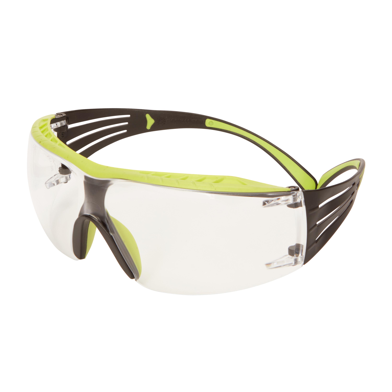 dfc460d1337c 3M™ SecureFit™ 400X Safety Glasses, Green/Black frame, Rugged Anti-Scratch  (K), Clear Lens, SF401XRAS-GRN-EU